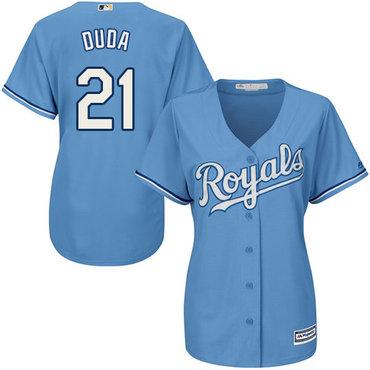 Royals #21 Lucas Duda Light Blue Alternate 1 Women's Stitched MLB Jersey