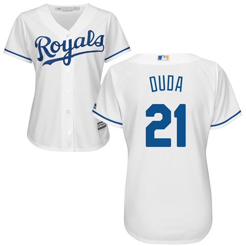 Royals #21 Lucas Duda White Home Women's Stitched MLB Jersey