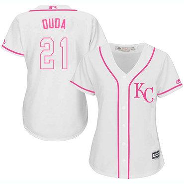 Royals #21 Lucas Duda White Pink Fashion Women's Stitched MLB Jersey