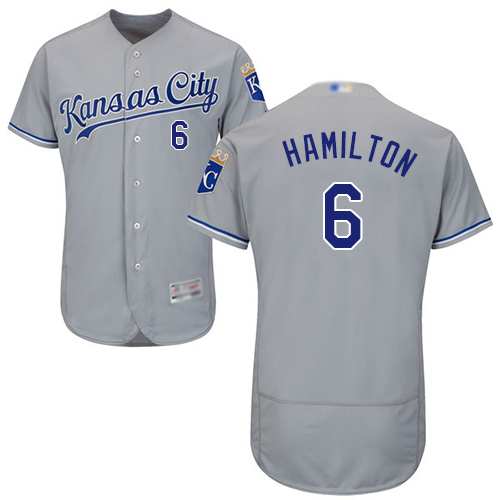 Royals #6 Billy Hamilton Grey Flexbase Authentic Collection Stitched Baseball Jersey
