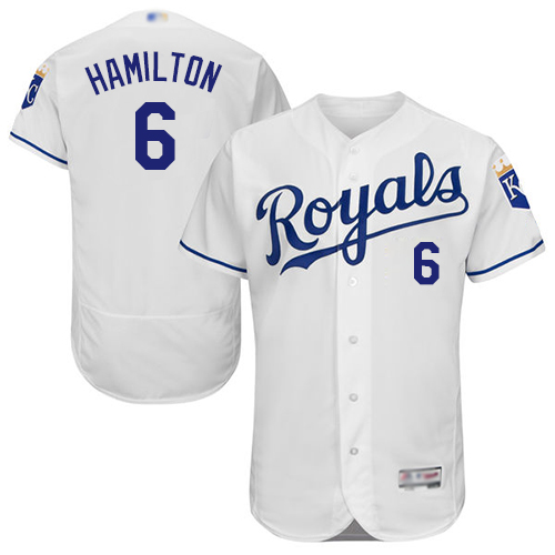 Royals #6 Billy Hamilton White Flexbase Authentic Collection Stitched Baseball Jersey