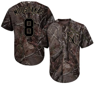 Royals #8 Mike Moustakas Camo Realtree Collection Cool Base Stitched Baseball Jersey