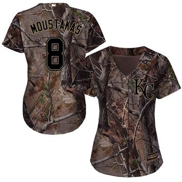 Royals #8 Mike Moustakas Camo Realtree Collection Cool Base Women's Stitched Baseball Jersey