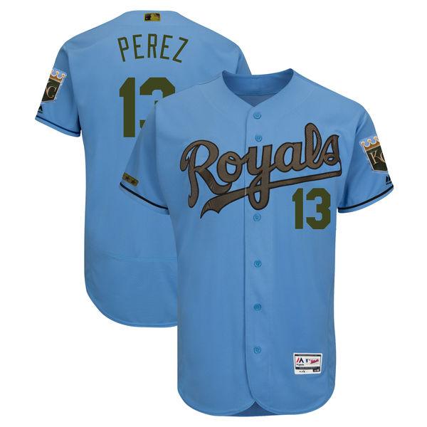 Royals 13 Salvador Perez Blue 2018 Memorial Day Flexbase Jersey