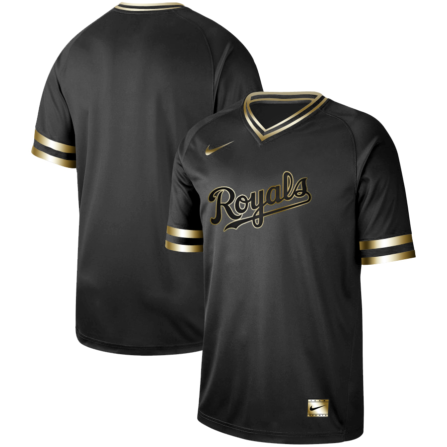 Royals Blank Black Gold Nike Cooperstown Collection Legend V Neck Jersey