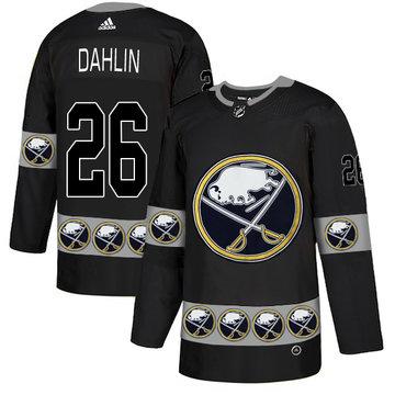 Sabres 26 Rasmus Dahlin Black Team Logos Fashion Adidas Jersey