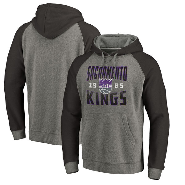 Sacramento Kings Fanatics Branded Ash Antique Stack Tri Blend Raglan Pullover Hoodie