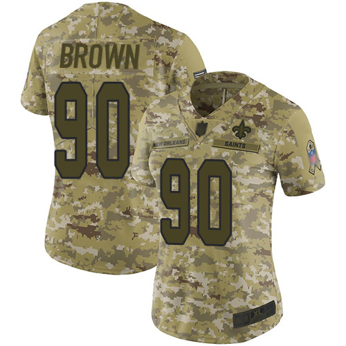 Saints #90 Malcom Brown Camo Women's Stitched Football Limited 2018 Salute to Service Jersey