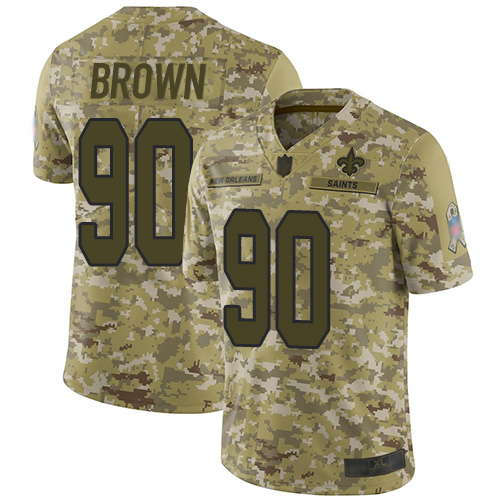 Saints #90 Malcom Brown Camo Youth Stitched Football Limited 2018 Salute to Service Jersey