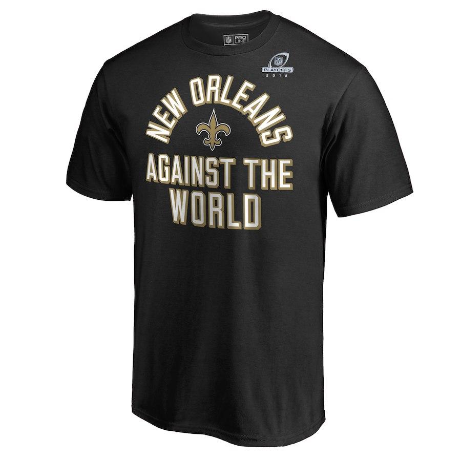 Saints Black 2018 NFL Playoffs Against The World Men's T-Shirt