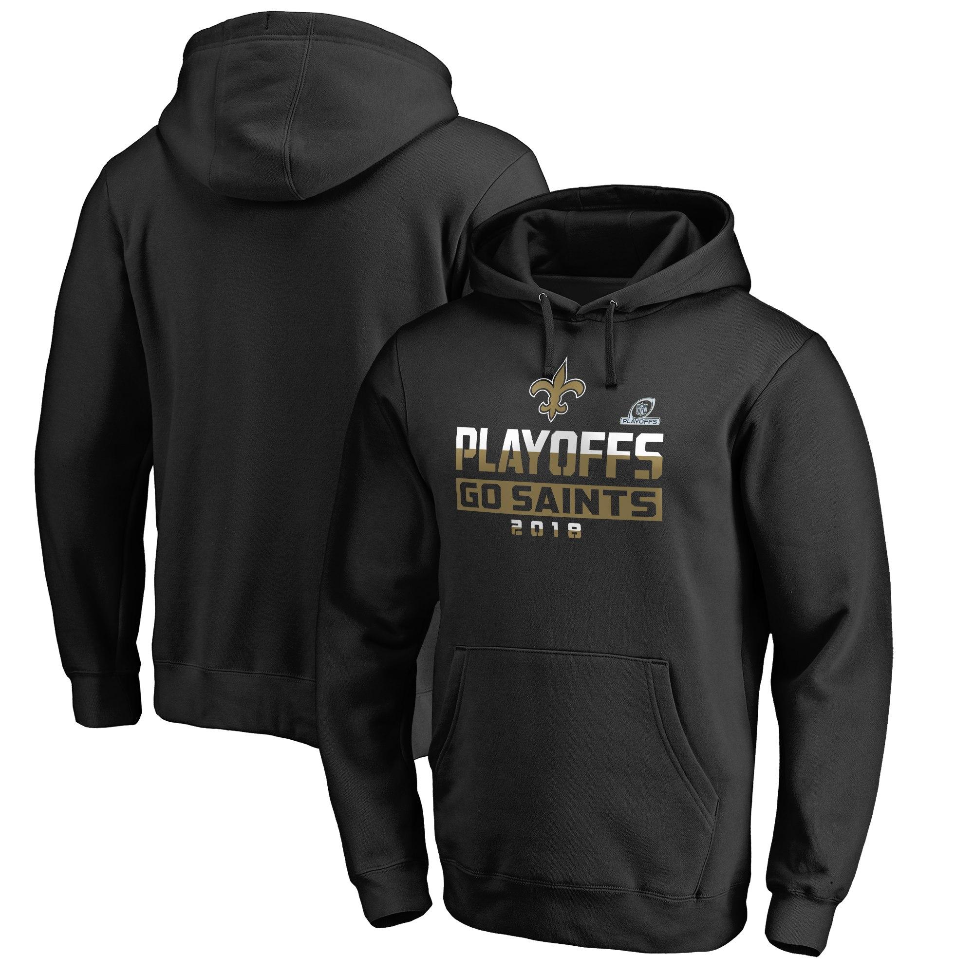 Saints Black 2018 NFL Playoffs Men's Pullover Hoodie