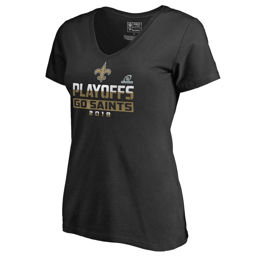 Saints Black Women's 2018 NFL Playoffs Go Saints T-Shirt
