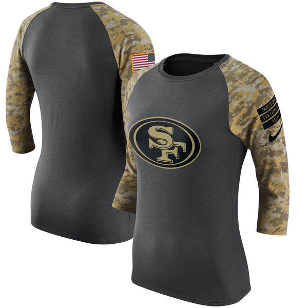 San Francisco 49ers Anthracite Salute to Service Women's Short Sleeve T-Shirt