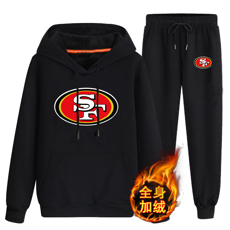 San Francisco 49ers Black Men's Winter Thicken NFL Pullover Hoodie & Pant