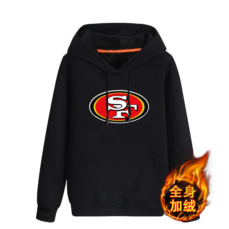 San Francisco 49ers Black Men's Winter Thicken NFL Pullover Hoodie