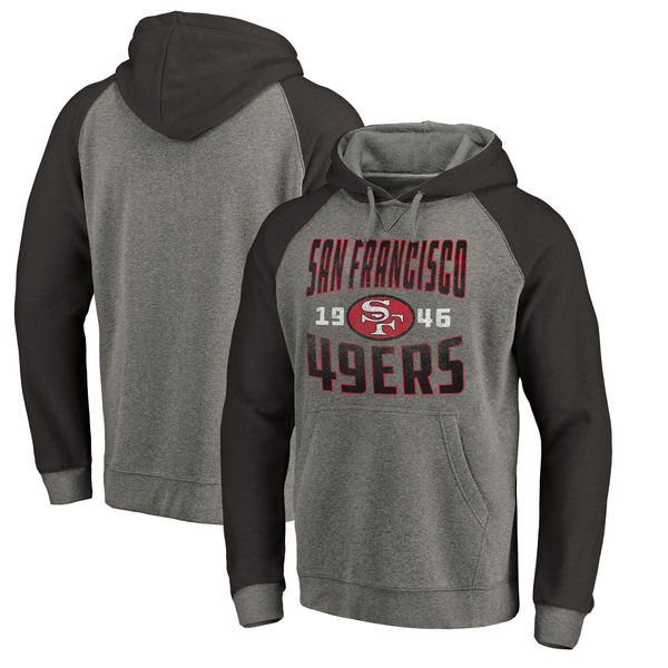 San Francisco 49ers NFL Pro Line By Fanatics Branded Timeless Collection Antique Stack Tri-Blend Raglan Pullover Hoodie Ash
