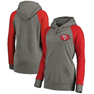 San Francisco 49ers NFL Pro Line By Fanatics Branded Women's Plus Sizes Vintage Lounge Pullover Hoodie Heathered Gray