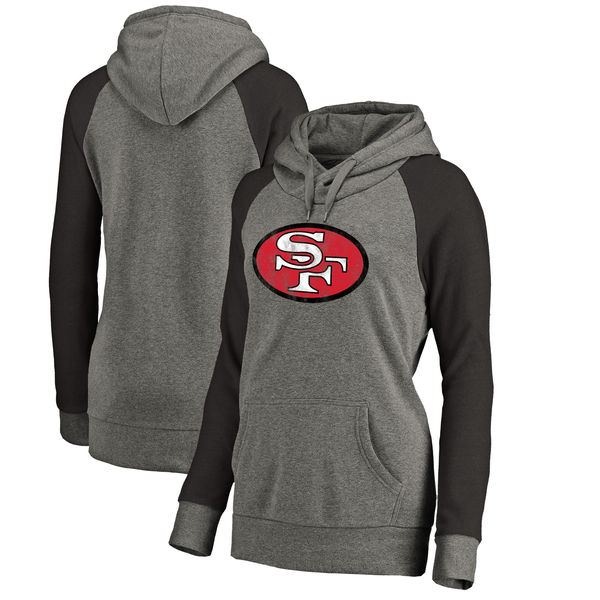 San Francisco 49ers NFL Pro Line By Fanatics Branded Women's Throwback Logo Tri-Blend Raglan Plus Size Pullover Hoodie Gray Black