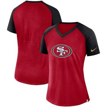 San Francisco 49ers Nike Women's Top V Neck T-Shirt Scarlet Black