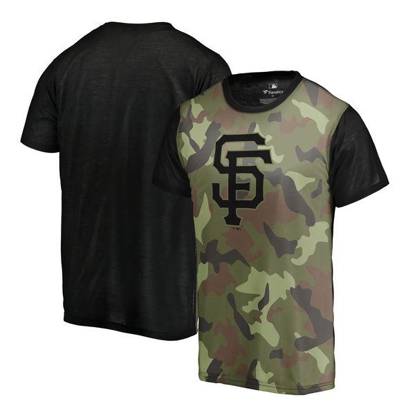 San Francisco Giants Fanatics Branded Green 2018 Memorial Day Camo Blast Sublimated T Shirt