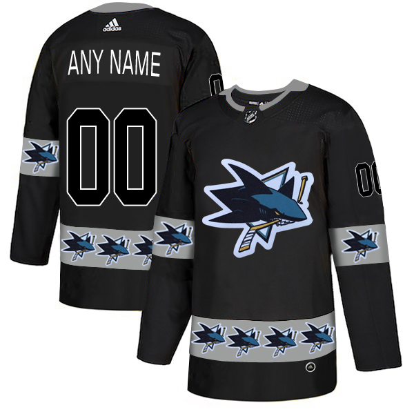 San Jose Sharks Black Men's Customized Team Logos Fashion Adidas Jersey