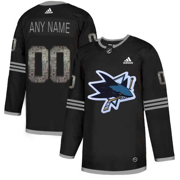 San Jose Sharks Black Shadow Logo Print Men's Customized Adidas Jersey