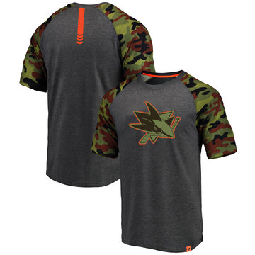 San Jose Sharks Fanatics Branded Heathered Gray Camo Recon Camo Raglan T-Shirt
