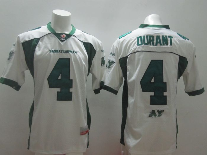 Saskatchewan Roughriders Durant #4 White Jersey