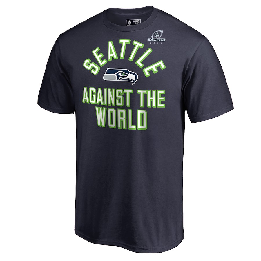 Seahawks Navy 2018 NFL Playoffs Against The World Men's T-Shirt