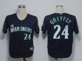 Seattle Mariners 24 Ken Griffey Blue Cool Base MLB Signed Jersey