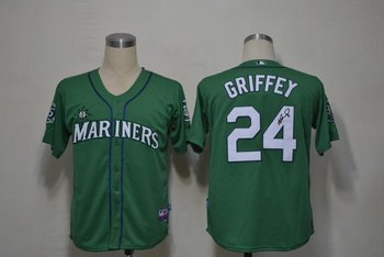 Seattle Mariners 24 Ken Griffey Green Cool Base MLB Signed Jersey