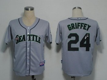 Seattle Mariners 24 Ken Griffey Grey Cool Base MLB Signed Jersey