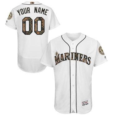 Seattle Mariners White Memorial Day Men's Customized Flexbase Jersey