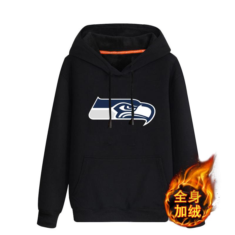 Seattle Seahawks Black Men's Winter Thicken NFL Pullover Hoodie