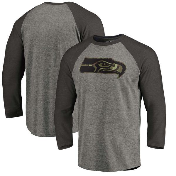 Seattle Seahawks NFL Pro Line By Fanatics Branded Black Gray Tri Blend 34-Sleeve T-Shirt