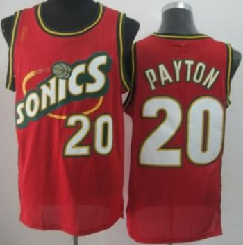 Seattle SuperSonics 20 Gary Payton Red Throwback Revolution 30 NBA Basketball Jerseys