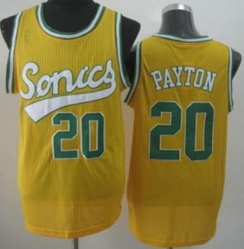 Seattle SuperSonics 20 Gary Payton Yellow Throwback Revolution 30 NBA Basketball Jerseys