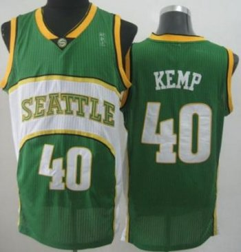Seattle SuperSonics 40 Shawn Kemp Green Throwback Revolution 30 NBA Basketball Jerseys