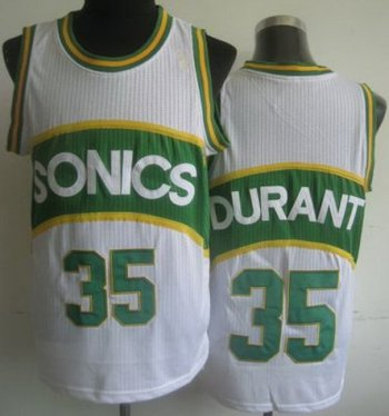 Seattle Supersonic 35 Kevin Durant White Hardwood Classics Revolution 30 NBA Jerseys