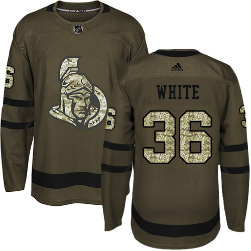 Senators #36 Colin White Green Salute to Service Stitched Hockey Jersey