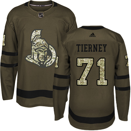 Senators #71 Chris Tierney Green Salute to Service Stitched Hockey Jersey
