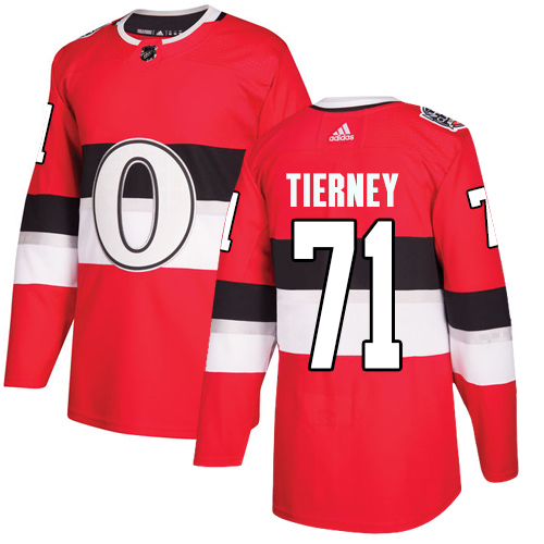 Senators #71 Chris Tierney Red Authentic 2017 100 Classic Stitched Hockey Jersey
