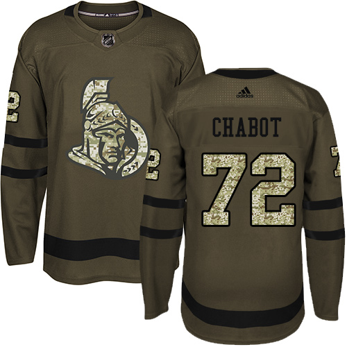 Senators #72 Thomas Chabot Green Salute to Service Stitched Hockey Jersey