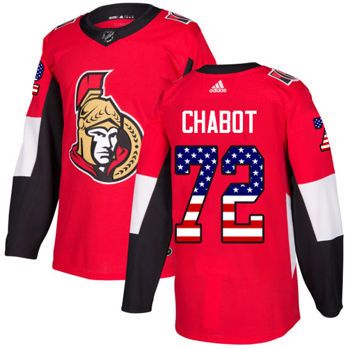 Senators #72 Thomas Chabot Red Home Authentic USA Flag Stitched Hockey Jersey