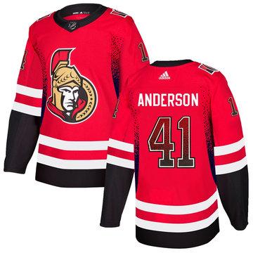 Senators 41 Craig Anderson Red Drift Fashion Adidas Jersey