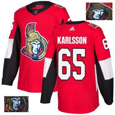 Senators 65 Erik Karlsson Red With Special Glittery Logo Adidas Jersey