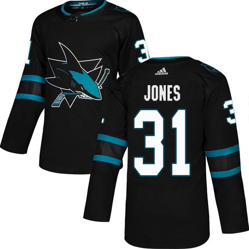 Sharks #31 Martin Jones Black Alternate Authentic Stitched Hockey Jersey