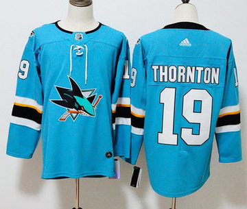 Sharks 19 Joe Thornton Teal Adidas Jersey