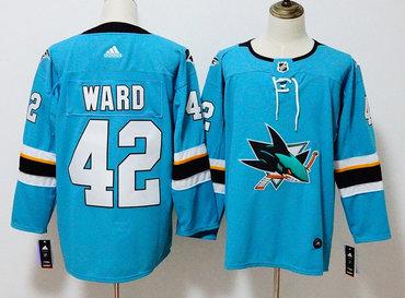 Sharks 42 Joel Ward Teal Adidas Jersey