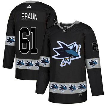 Sharks 61 Justin Braun Black Team Logos Fashion Adidas Jersey